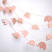 Elephant Garland - Baby Shower Garland - Baby Room Decoration -  Paper Garland - Baby Pink Elephants