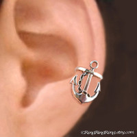 925 Anchor RIGHT  Sterling Sliver ear cuff earring by RingRingRing