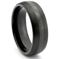 8MM Tungsten Carbide Mens Black _ Wedding Band Ring (Available Sizes 7-14 Including Half Sizes)