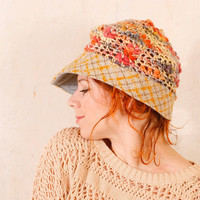 Woman knit hat Crochet hat yellow Summer crochet hat Yellow blue hat Crochet newsboy Summer knit hat Adult crochet hat Slouchy hat
