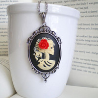 Victorian Skeleton Cameo Necklace