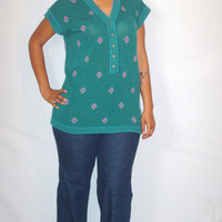 Vintage 1980s Green Sweater Short Sleeve