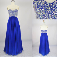 2013 Style A-line Sweetheart Beading Sleeveless Floor-length chiffon Prom Dresses / Evening   Dresses