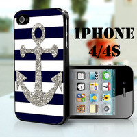 Soft navy and white stripes with silver anchor -   - iPhone 4S and iPhone 4 Case Cover