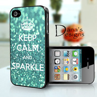 Keep calm and sparkle - teal - iPhone 4S and iPhone 4 Case Cover