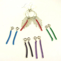 Interchangeable Earrings Red Chain Hoops Multi by LuisasCreations