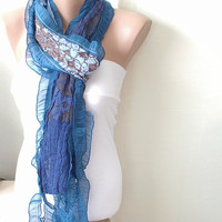 Hand Dyed Blue Navy Color Scarf from 100 coton with by Periay