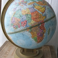 1960s Replogle World Scholar Series Relief Globe Vintage