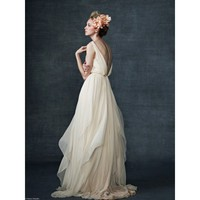 Deep V-neck Column Wedding Dress with Handkerchief Hemline - Star Bridal Apparel