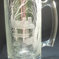 Hand engraved glass mug 'summerset' Historic home, original one of a kind art