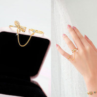 [Party Queen] Twin Bow Link Chain Ring Gold Plated CZ Free Size 4x_r004