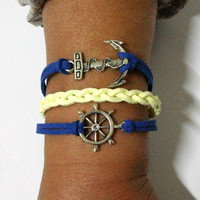 nautical bracelet, anchor bracelet, nautical charm and anchor charm, men&#x27;s women&#x27;s leather bracelets, braided bracelets