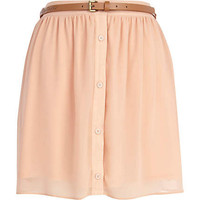 Beige button through belted mini skirt