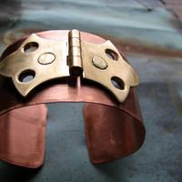 $39.00 Copper Riveted Unique Hinge Cuff Bracelet by waregarden on Etsy