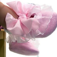 Pink Baby Booties Ballet Tu Tu Style with by LittleDogLaughs