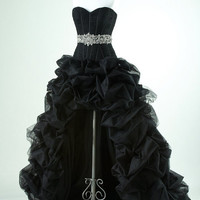 Gorgeous Black with high low prom dress from sweetheart dresses