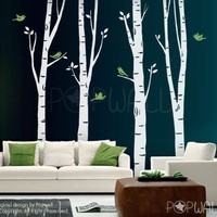 100inch Tall Birch Trees with flying birds Art Wall by NouWall
