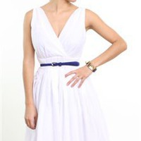 white v-neck summer dress