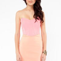 The Ponti of Color-blocking Bodycon Dress in Peach :: tobi