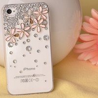 Skin Flowers Crystal Iphone 4/4sCases