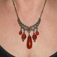 Gypsy necklace, Bohemian carnelian and agate crescent brass bib necklace pendant, gypsy jewelry