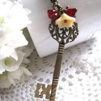 Key To My Heart Necklace - Antiqued Bronze Large Long Skeleton Key