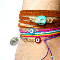Braided Friendship Bracelets hot pink blue evil eye by zurdokero