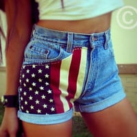 Vintage high waisted American flag denim shorts by Jeansonly
