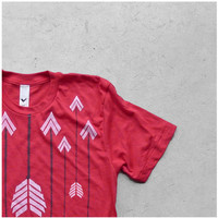 Mens tshirt - bright red and white - S-XL - gift for him - chevron arrows print on American Apparel mens fashion tees - THE HEADHUNTER