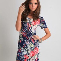 Multi Floral Dress - Navy Blue Floral Puffed Sleeve | UsTrendy