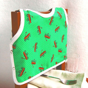Red Wagon Bib Polka Dots 12 Month Feeding Reversible by maddywear