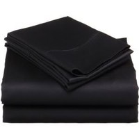 1200 Thread Count FULL SIZE 4pc Egyptian Quality Bed Sheet Set, Deep Pocket, BLACK