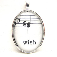 Music Note Pendant with Wish from Vintage by CarpeDiemHandmade