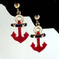Anchors Away Vintage Clip on Earrings - Red and Blue Enamel