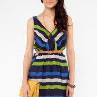 A-Lined Dress in Navy :: tobi