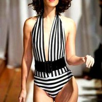 Multi Swimsuit - Sailor Black White Striped One-Piece | UsTrendy