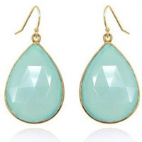 Teal/Turquoise Linear  Drop - Luxe earrings on gold and | UsTrendy