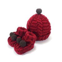 Knitted Baby Hat and Booties - Red, 6 - 12 month