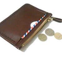 Men Wallet Coin Card Case Leather Wallet  Leather by leathermix