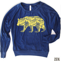 Womens California BEAR Tri-Blend Pullover - american apparel S M L (6 Color Options)