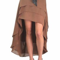 Brown Long Skirt - 'Tis The Season Chiffon Multi | UsTrendy