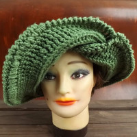 Crochet Hat Women Hat - Crochet Wide Brim Hat FRONTIER SUN Hat in Sage Green - Ready To Ship - Winter Fashion Accessories
