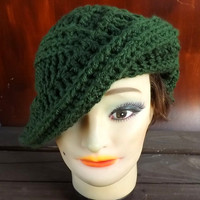 Crochet Hat Women Hat - PALM LEAF Beret Asymmetrical in Olive Green - Winter Fashion Accessories