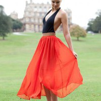 Orange Long Skirt - Chiffon Maxi Skirt | UsTrendy