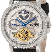 Akribos XXIV Men's AKR452BR Bravura Automatic Dual Time Skeleton Cream Dial Watch
