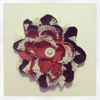 Red Black and White Flower hair clip 353 by RABOGNER on Zibbet