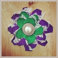 PurpleGreen and White Flower hair clip 349 by RABOGNER on Zibbet