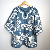 Wings of a Dove - Vintage 70s Light Cotton Denim  Dove Embroidered Boho Top