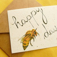 $3.00 Happy Bee Day eco friendly card printed on banana by MerryBluesArt