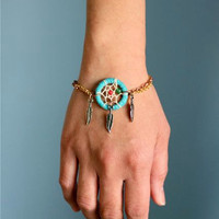 Turquoise Dream Catcher Bracelet by PurpleShmurpleShoppe on Etsy